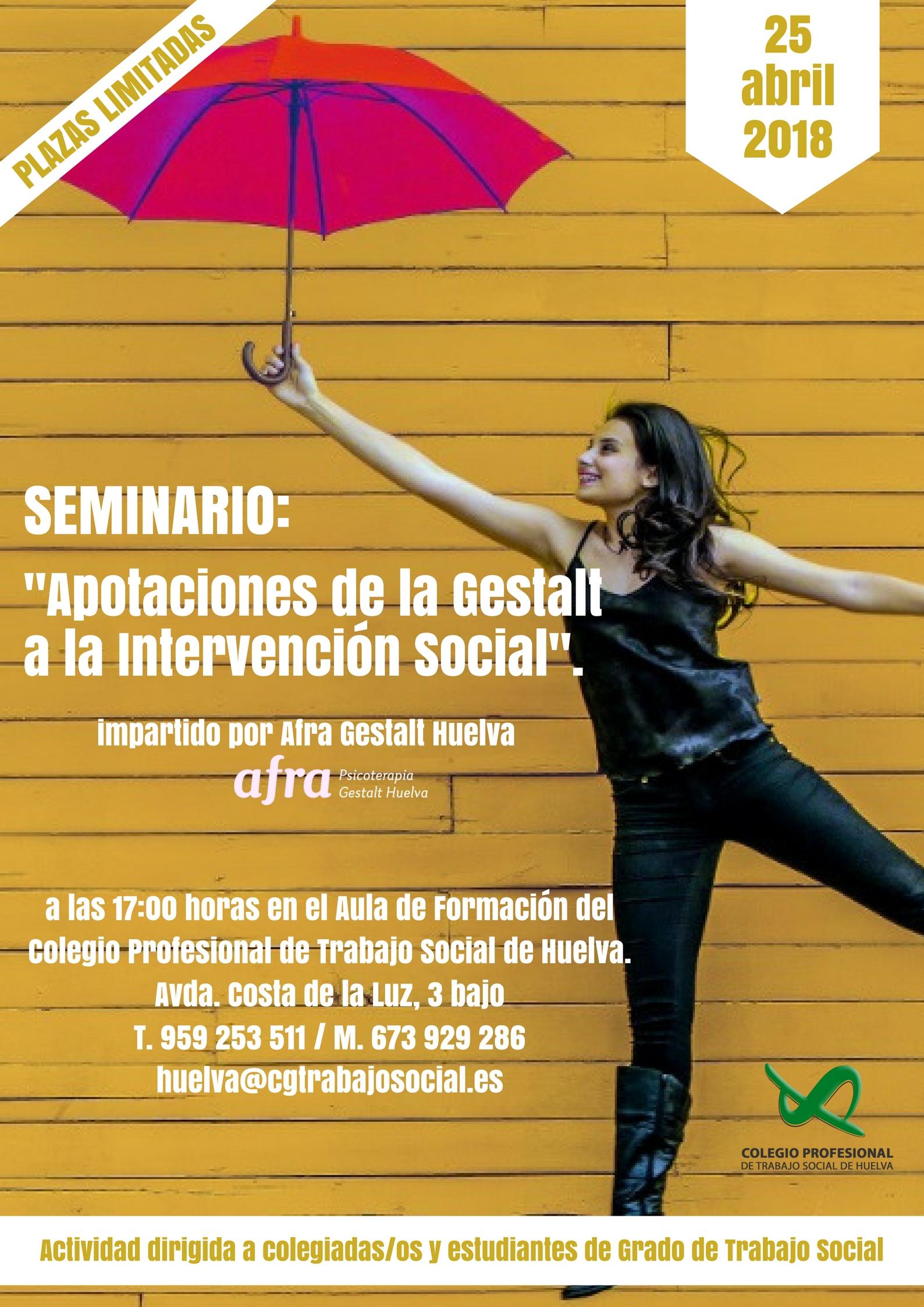 """CICLO SEMINARIOS FORMATIVOS_SEMINARIO """"APORTACIONES DE LA GESTALT A LA INTERVENCIÓN SOCIAL"""". FINALIZADO."""