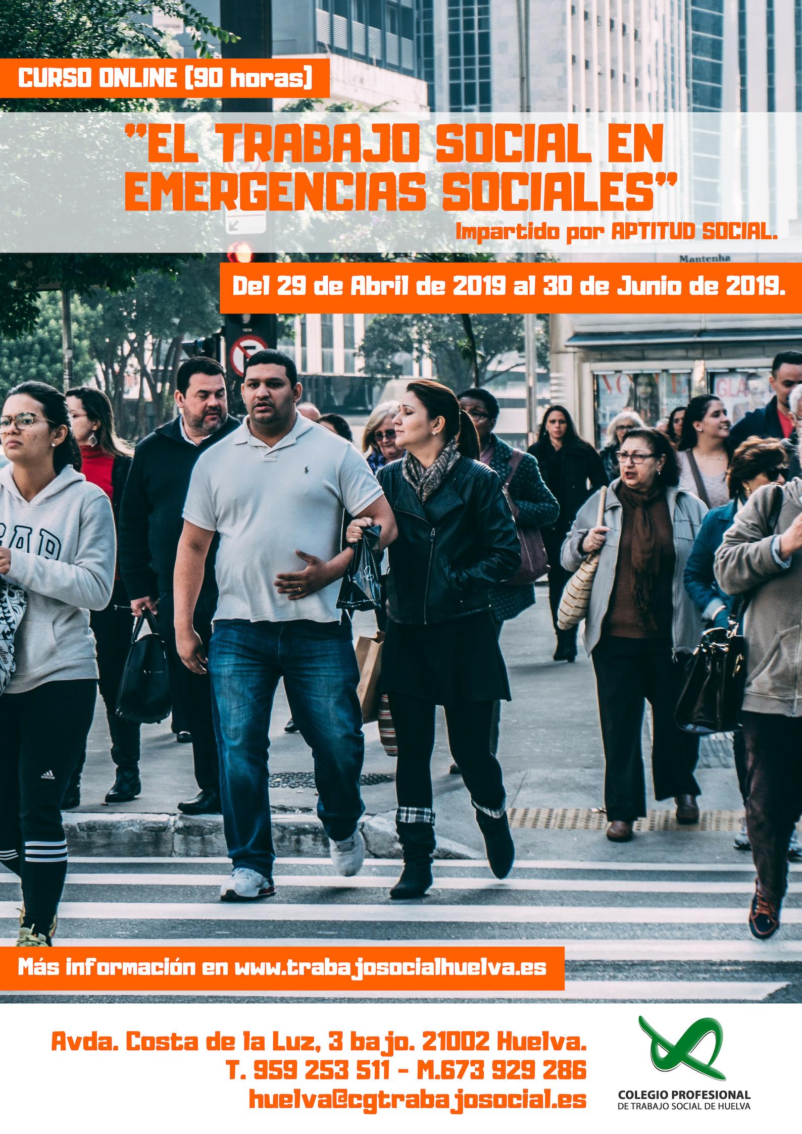 """CURSO ONLINE: """"EL TRABAJO SOCIAL EN EMERGENCIAS SOCIALES"""" (90 HORAS). Abierto el plazo de inscripción."""