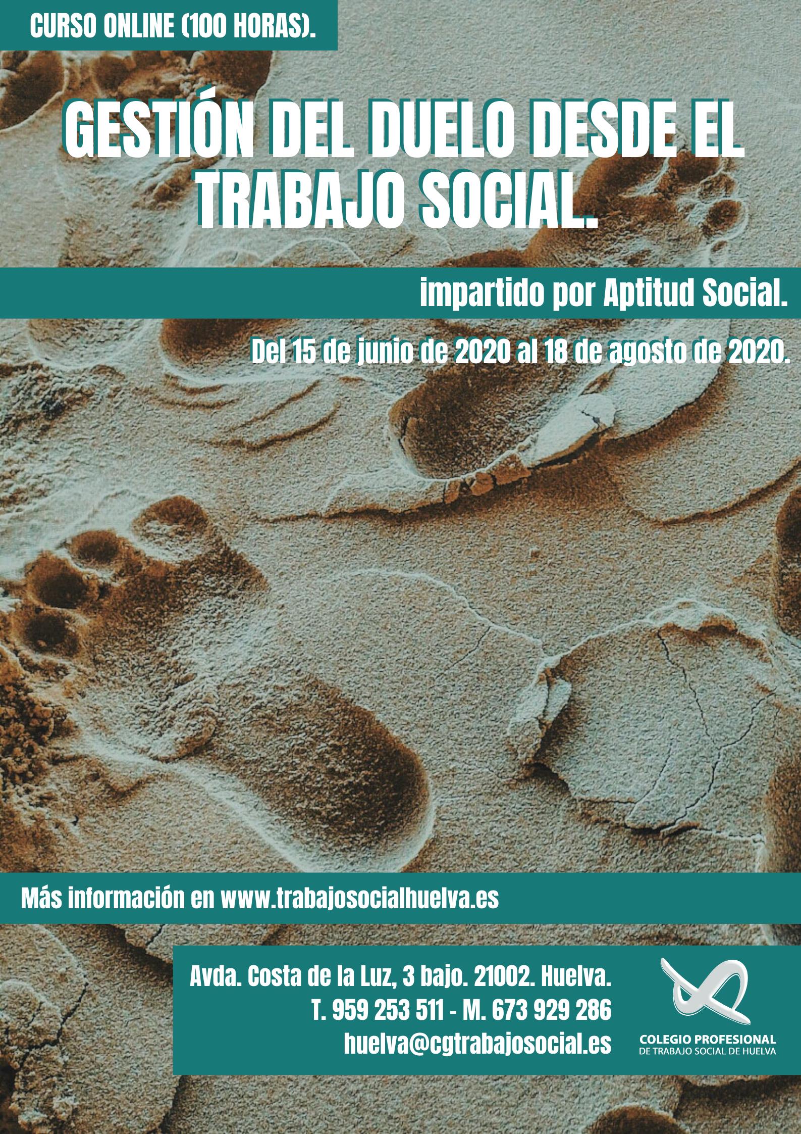 """CURSO ONLINE: """"GESTIÓN DEL DUELO DESDE EL TRABAJO SOCIAL"""" (100 HORAS)"""