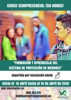 """CURSO SEMIPRESENCIAL """"FORMACIÓN Y APRENDIZAJE DEL SISTEMA DE PROTECCIÓN DE MENORES"""" (50 HORAS). FINALIZADO."""