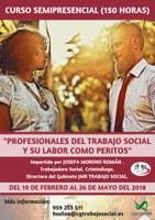 """CURSO SEMIPRESENCIAL """"PROFESIONALES DEL TRABAJO SOCIAL Y SU LABOR COMO PERITO"""" (150 HORAS). En curso. Plazo de matrícula finalizado."""