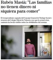 """ENTREVISTA DE EL MUNDO A RUBÉN MASIÀ: """"LAS FAMILIAS NO TIENEN DINERO NI SIQUIERA PARA COMER"""""""