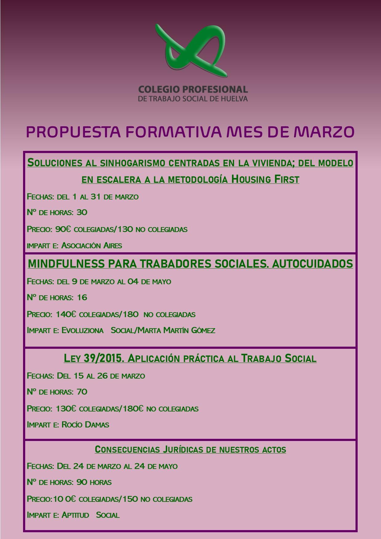PROPUESTAS FORMATIVAS MES DE MARZO