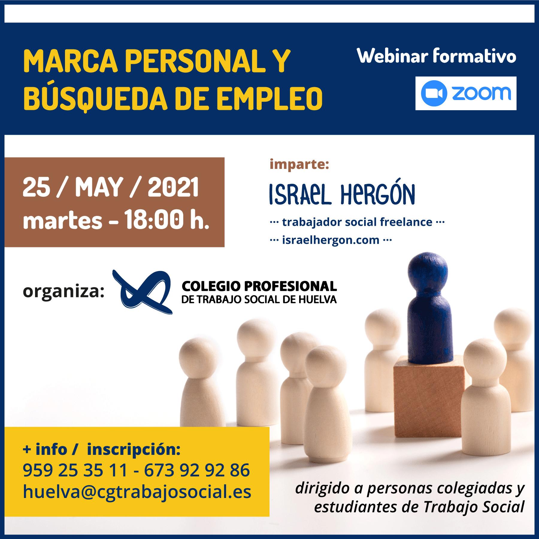 """WEBINAR 25 DE MAYO """"MARCA PERSONAL Y BÚSQUEDA DE EMPLEO"""""""